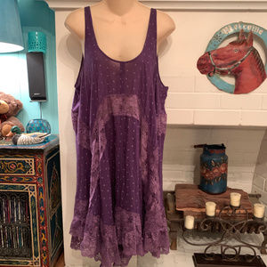 FREE PEOPLE PURPLE VOILE LACE TRAPEZE SLIP DRESS